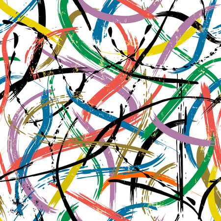 Illustration for seamless abstract background composition, with paint strokes and splashes - Royalty Free Image
