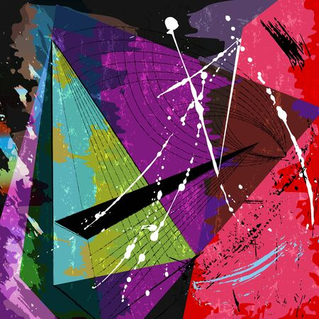 Illustration pour Abstract geometric  composition, with strokes, splashes and lines - image libre de droit