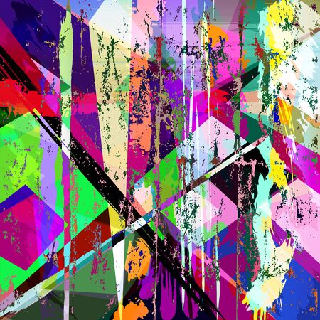 Illustration for abstract geometric background, with paint strokes, splashes, triangles and squares - Royalty Free Image