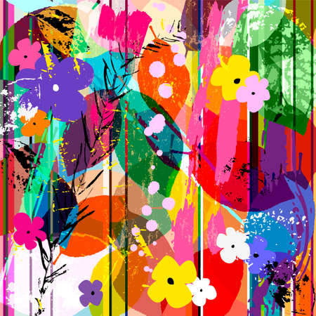Illustration for abstract background composition with little flowers, strokes, splashes and leaves - Royalty Free Image