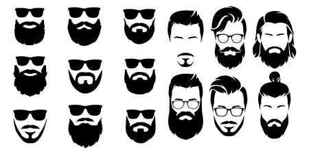 Illustration for bearded icon set Vector illustration white background - Royalty Free Image