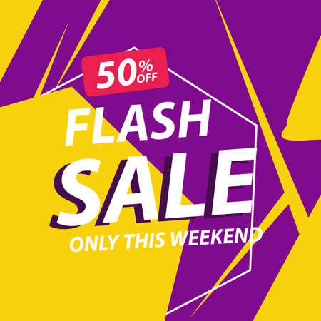 Illustration pour Flash sale discount banner template promotion - image libre de droit