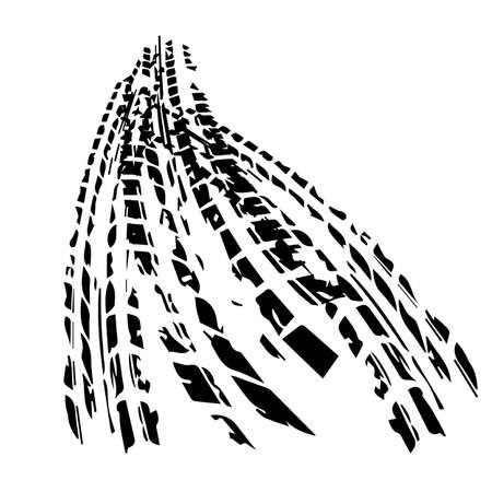 Illustration for black tire track with background vector illustration - Royalty Free Image