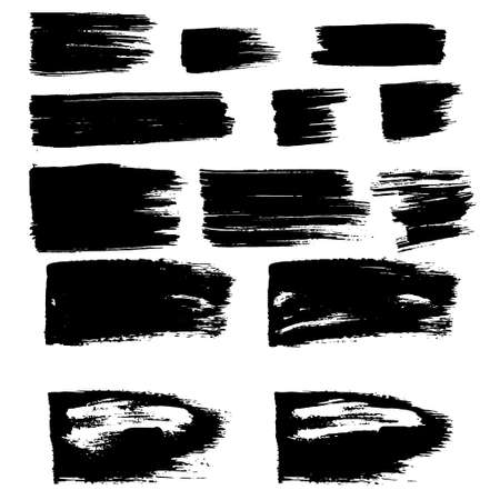Illustration for Vector black paint, ink brush stroke, brush, line or texture. Dirty artistic design element, box, frame or background for text. - Royalty Free Image