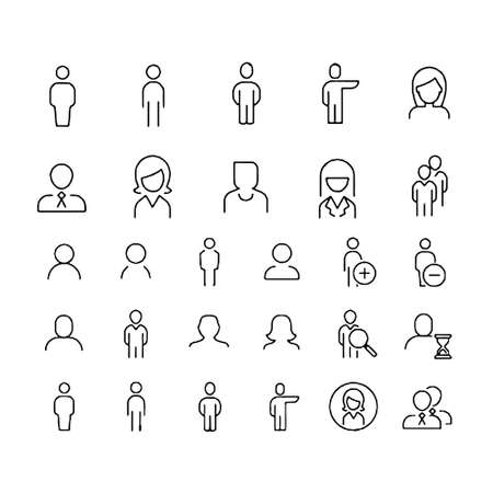 Illustration for Simple Set of Business People Related Vector Line Icons. Contains such Icons as One-on-One Meeting, Workplace, Business Communication - Royalty Free Image