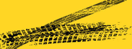 Illustration for Vector automotive banner template. Grunge tire tracks backgrounds - Royalty Free Image