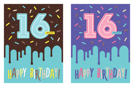 Birthday greeting card with dripping glaze on decorated cake and number 16 celebration candle