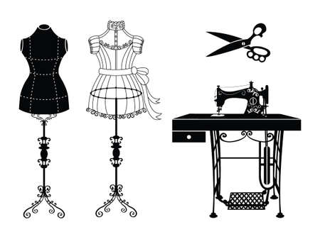 Illustration for Vector tailor icons set with sewing and knitting tools and accessories. Black and white silhouette. Tailor shop and sewing tool icons. Flat design concepts for sewing dress, vintage mannequin, sewing machine, tailor scissor. - Royalty Free Image