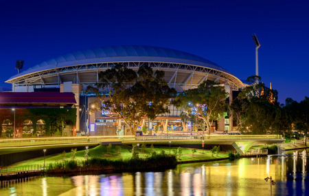 Adelaide South Australia  January 18 2015: View of Adelaide Oval and River Torrens Foot Bridge at night. This place is one of the most popular tourist attractions in the city of Adelaide. Long exposure effect