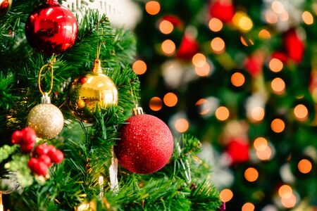 Photo for Christmas tree with decorations bokeh blurred glow. Happy New Year and Merry x-mas. - Royalty Free Image