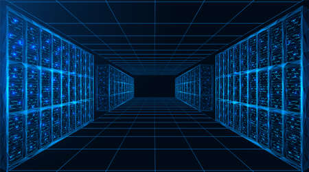 Illustration pour Data center. A room with servers for digital processing and storage of information. Polygonal construction of connected lines and points. Blue background. - image libre de droit