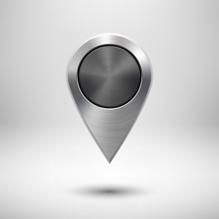 Illustration pour Technology map pointer (button, badge) template with metal texture (chrome, silver, steel), realistic shadow and light background for user interfaces (UI), applications (apps) and presentations. - image libre de droit