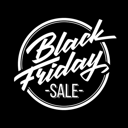 Illustration for Black Friday Sale badge with handmade lettering, calligraphy and dark background for logo, banners, labels, prints, posters, web, presentation. Vector illustration. - Royalty Free Image