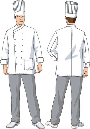 The suit of the cook consists of a jacket, trousers and a cap