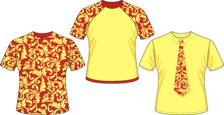 Three kinds of T-shirts with pattern drawing of hohloma