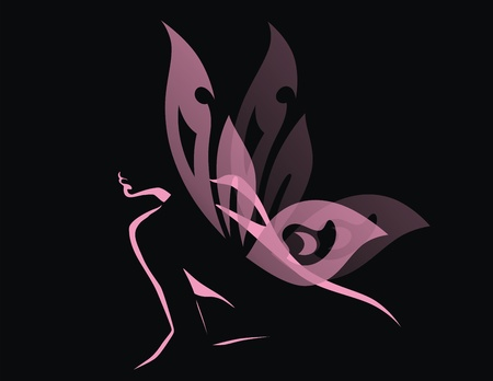 The girl with transparent wings of a butterfly sits