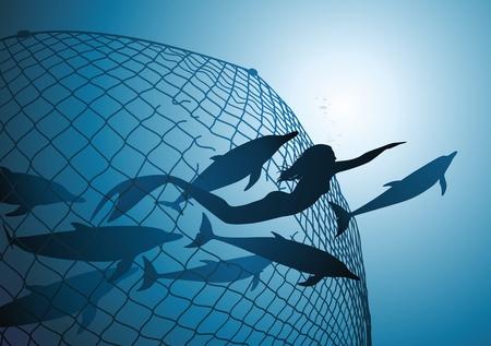 Ilustración de The mermaid rescues flight of dolphins from a fishing net - Imagen libre de derechos