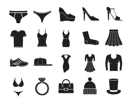 Illustration for Clothes fashion icons set on white background - Royalty Free Image