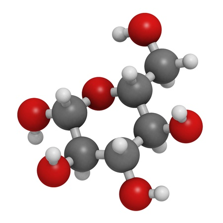 Glucose (beta-D-glucose, grape sugar, dextrose) molecule, chemical structure. Atoms are represented as spheres with conventional color coding: hydrogen (white), carbon (grey), oxygen (red)