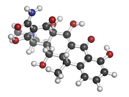 Doxycycline antibiotic drug (tetracycline class), chemical structure. Atoms are represented as spheres with conventional color coding: hydrogen (white), carbon (grey), nitrogen (blue), oxygen (red).