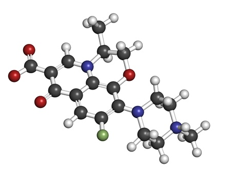 Levofloxacin antibiotic drug (fluoroquinolone class), chemical structure. Atoms are represented as spheres with conventional color coding: hydrogen (white), carbon (grey), nitrogen (blue), oxygen (red), fluorine (green)
