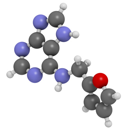 Kinetin (N6-furfuryladenine) plant hormone molecule. Promotes cell division in plants. Used in skin care and cosmetics for supposed anti-aging properties. Atoms are represented as spheres with conventional color coding: hydrogen (white), carbon (grey), ni