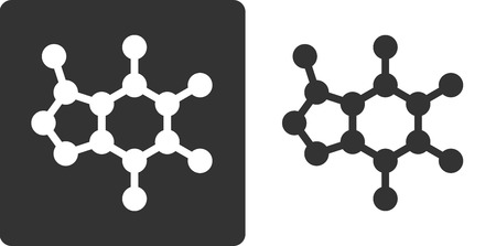 Caffeine molecule, , flat icon style. Stylized rendering. Carbon, oxygen and nitrogen atoms shown as circles. Hydrogen atoms omitted.
