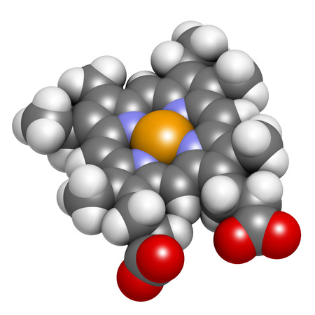 Heme B (haem B) molecule. Heme is an essential component of hemoglobin, myoglobin, cytochrome, catalase and other metalloproteins. Atoms are represented as spheres with conventional color coding: hydrogen (white), carbon (grey), oxygen (red), nitrogen (bl