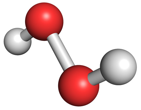 Hydrogen peroxide molecule. Reactive oxygen species (ROS). Used as bleaching agent, disinfectant, chemical reagent, etc. Atoms are represented as spheres with conventional color coding: hydrogen (white), oxygen (red).