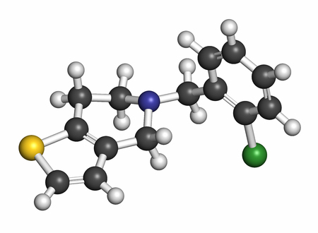 Ticlopidine antiplatelet drug molecule. Atoms are represented as spheres with conventional color coding: hydrogen (white), carbon (grey), nitrogen (blue), chlorine (green), sulfur (yellow).
