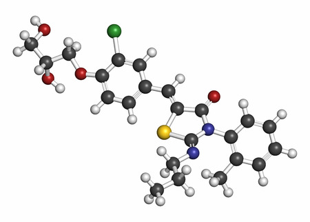 Ponesimod anti-inflammatory drug molecule (S1PR1 modulator). Atoms are represented as spheres with conventional color coding: hydrogen (white), carbon (grey), oxygen (red), nitrogen (blue), chlorine (green), sulfur (yellow).