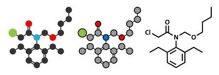 Butachlor herbicide molecule. Stylized 2D renderings and conventional skeletal formula.