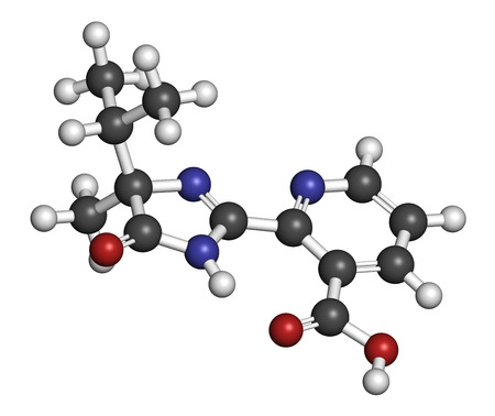 Imazapyr herbicide molecule. 3D rendering. Atoms are represented as spheres with conventional color coding: hydrogen (white), carbon (grey), nitrogen (blue), oxygen (red).