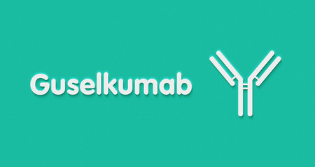 Guselkumab monoclonal antibody drug. Targets IL-23 subunit alpha. Used in the treatment of psoriasis. Generic name and stylized antibody.