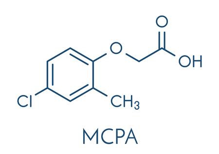 MCPA (2-methyl-4-chlorophenoxyacetic acid) herbicide molecule. Skeletal formula.