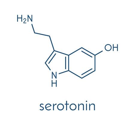 Illustration pour Serotonin neurotransmitter molecule. Skeletal formula. - image libre de droit