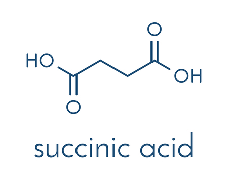 Succinic acid (butanedioic acid) spirit of amber. molecule. Intermediate of citric acid cycle. Salts and esters known as succinates. Skeletal formula.