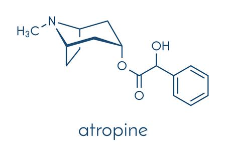 Atropine deadly nightshade (Atropa belladonna) alkaloid molecule. Medicinal drug and poison also found in Jimson weed (Datura stramonium) and mandrake (Mandragora officinarum). Skeletal formula.