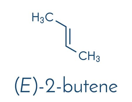 Illustration pour 2-butene (trans, E-form) molecule. Common petrochemical. Skeletal formula. - image libre de droit