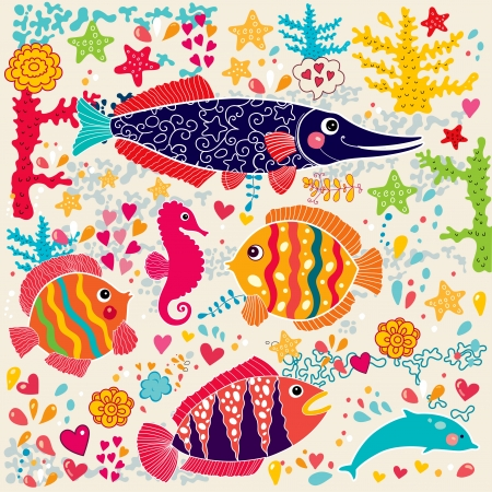 wallpaper with fish and marine life