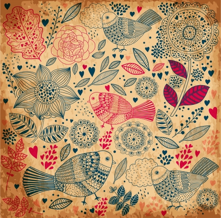 Illustration for floral background with old paper texture - Royalty Free Image