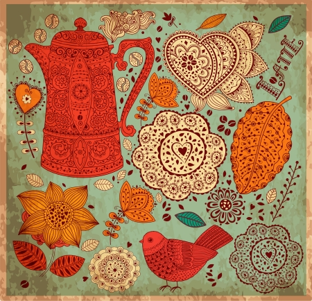 Illustration for Vintage  background with coffee pattern - Royalty Free Image