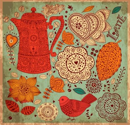Foto de Vintage  background with coffee pattern - Imagen libre de derechos