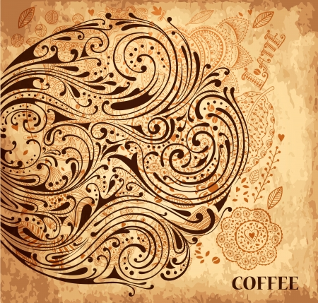 Illustration for Vintage vector coffee background with texture - Royalty Free Image