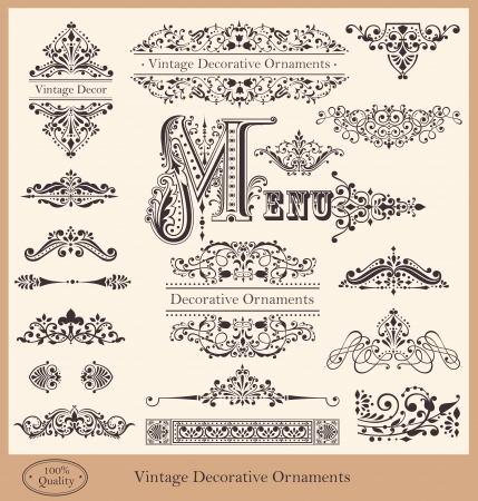 Photo for Vector collection of detailed vintage borders, ornaments and elements of decoration - Royalty Free Image