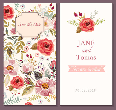 Illustration pour Vector wedding invitation template - image libre de droit