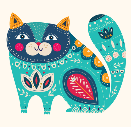 Illustration pour Beautiful decorative vector cat in blue color - image libre de droit