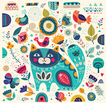 Illustration for Beautiful decorative vector cat in blue color with butterflies, birds and flowers - Royalty Free Image