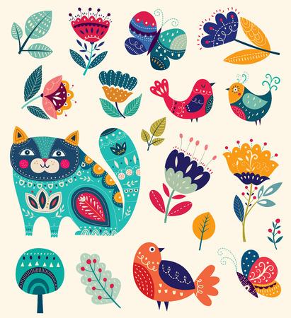 Illustration pour Vector colorful illustration with beautiful cat, butterflies, birds and flowers - image libre de droit