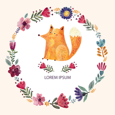 Illustration for Illustration with cute fox and floral wreath - Royalty Free Image